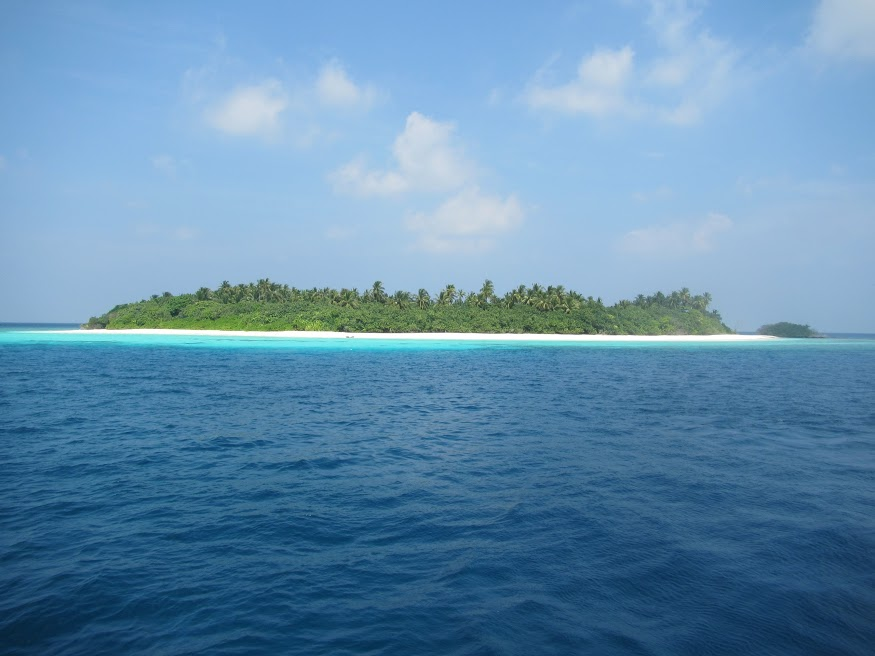 The Maldives consists of close to 2000 small islands such as this one. Many are uninhabited.