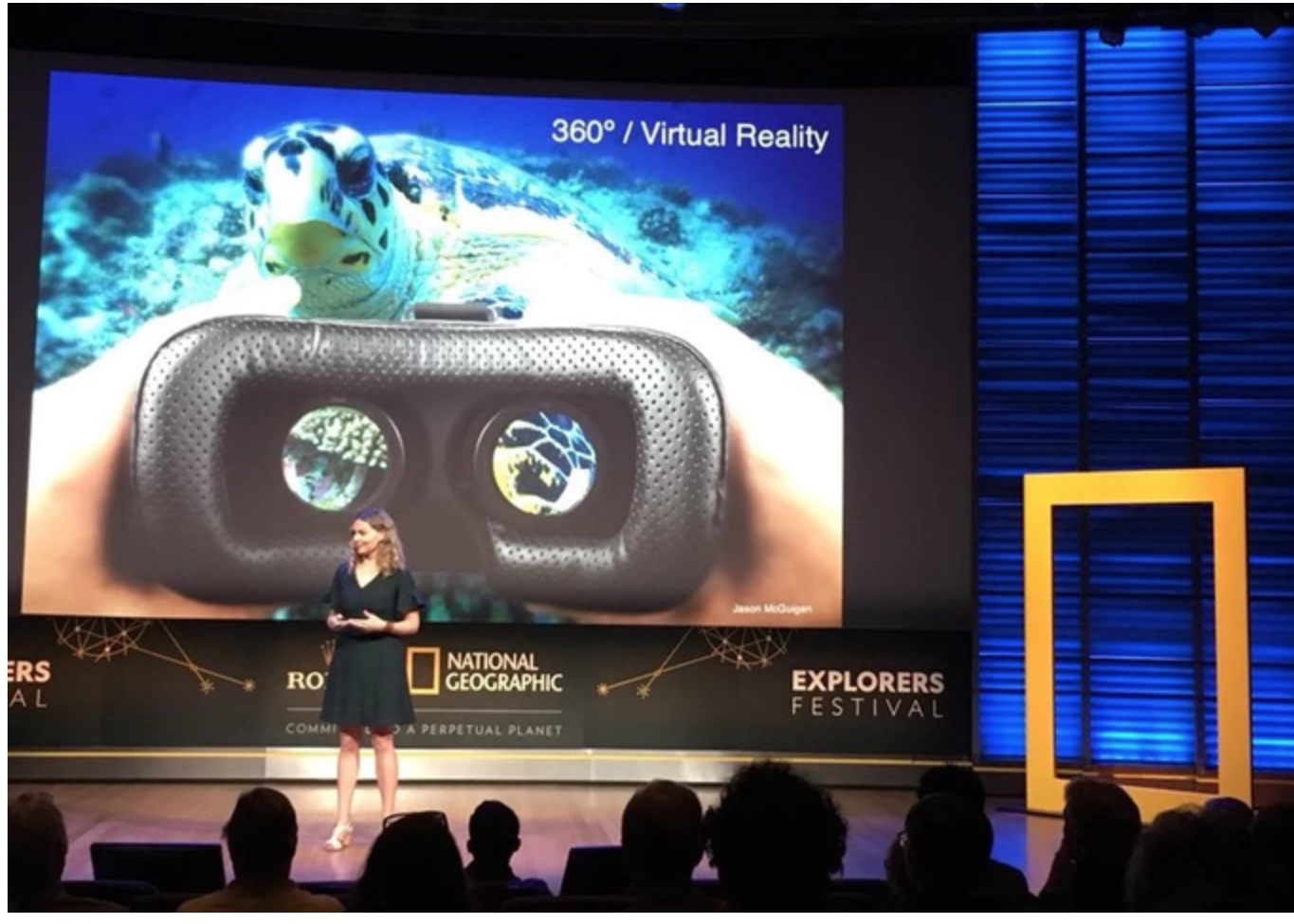 Marine biologist Dr. Erika Woolsey presenting on the use of VR for ocean education at the 2018 National Geographic Explorers Festival.