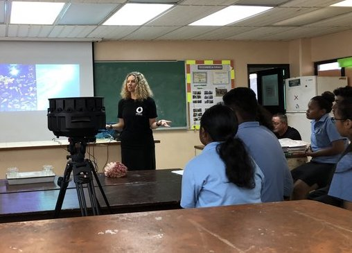 Erika Woolsey presenting at Palau high school (filmed with the Yi Halo)