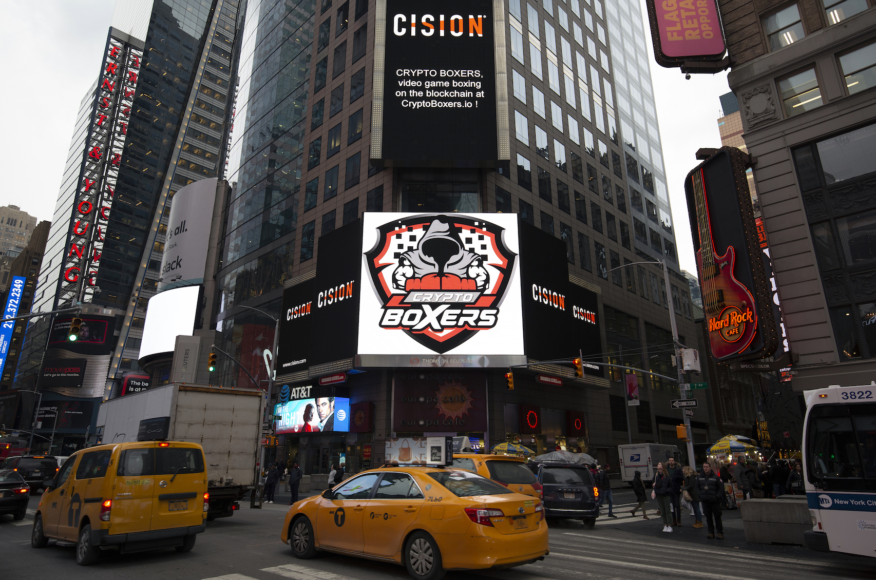 Crypto Boxers logo makes debut in Times Square in NY