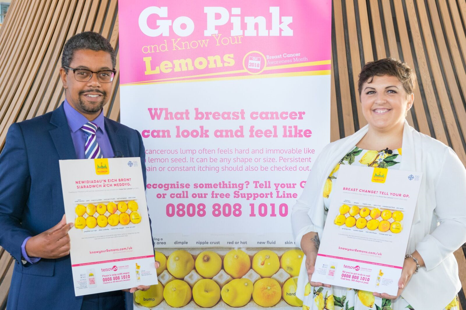 Vaughan Gething, Cabinet Secretary for Health and Social Services, Wales and Dawn Marie Wilson launching Know Your Lemons in Wales, Oct 1, 2018