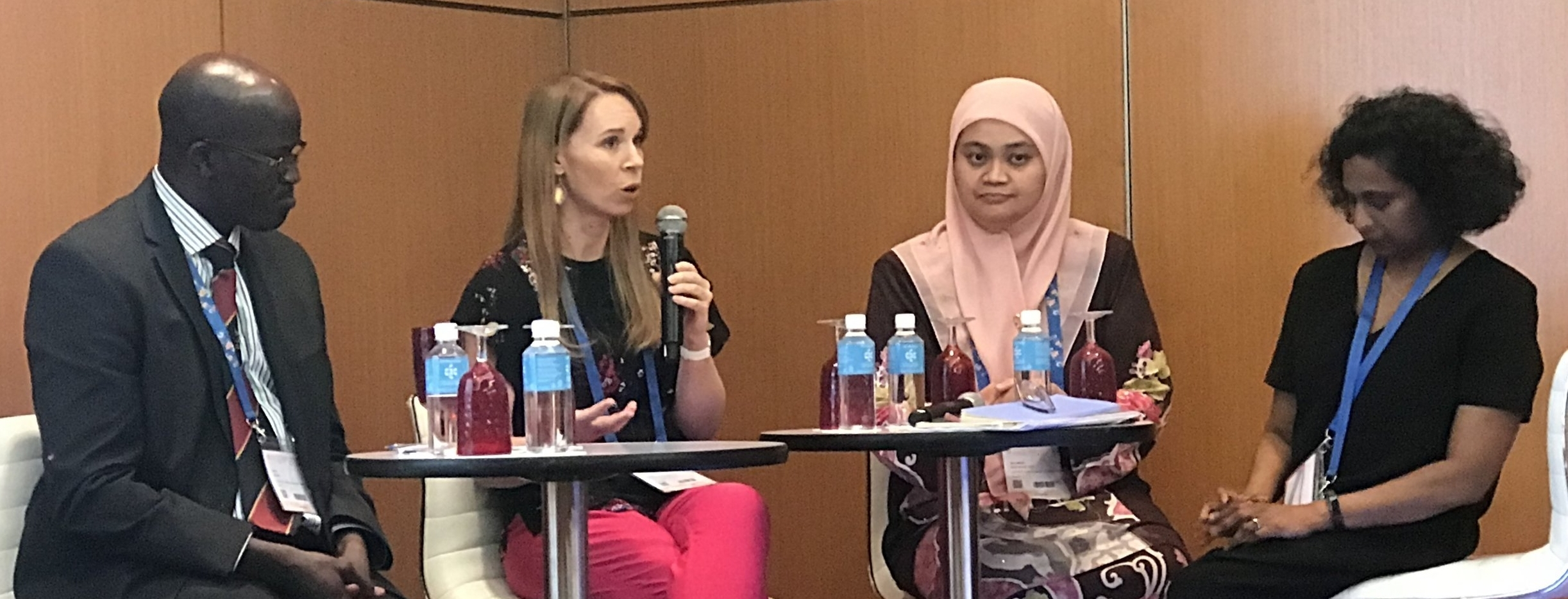 Left to Right: Dr Amos Mwaka, Makerere University, Uganda; Dr Corrine Ellsworth-Beaumont, Worldwide Breast Cancer, USA; Dr Nur Aishah Mohd Taib, KL, Malaysia; Prof Jennifer Moodley, University of Cape Town, South Africa. Not pictured: Panel chair Jon Emery, University of Melbourne.