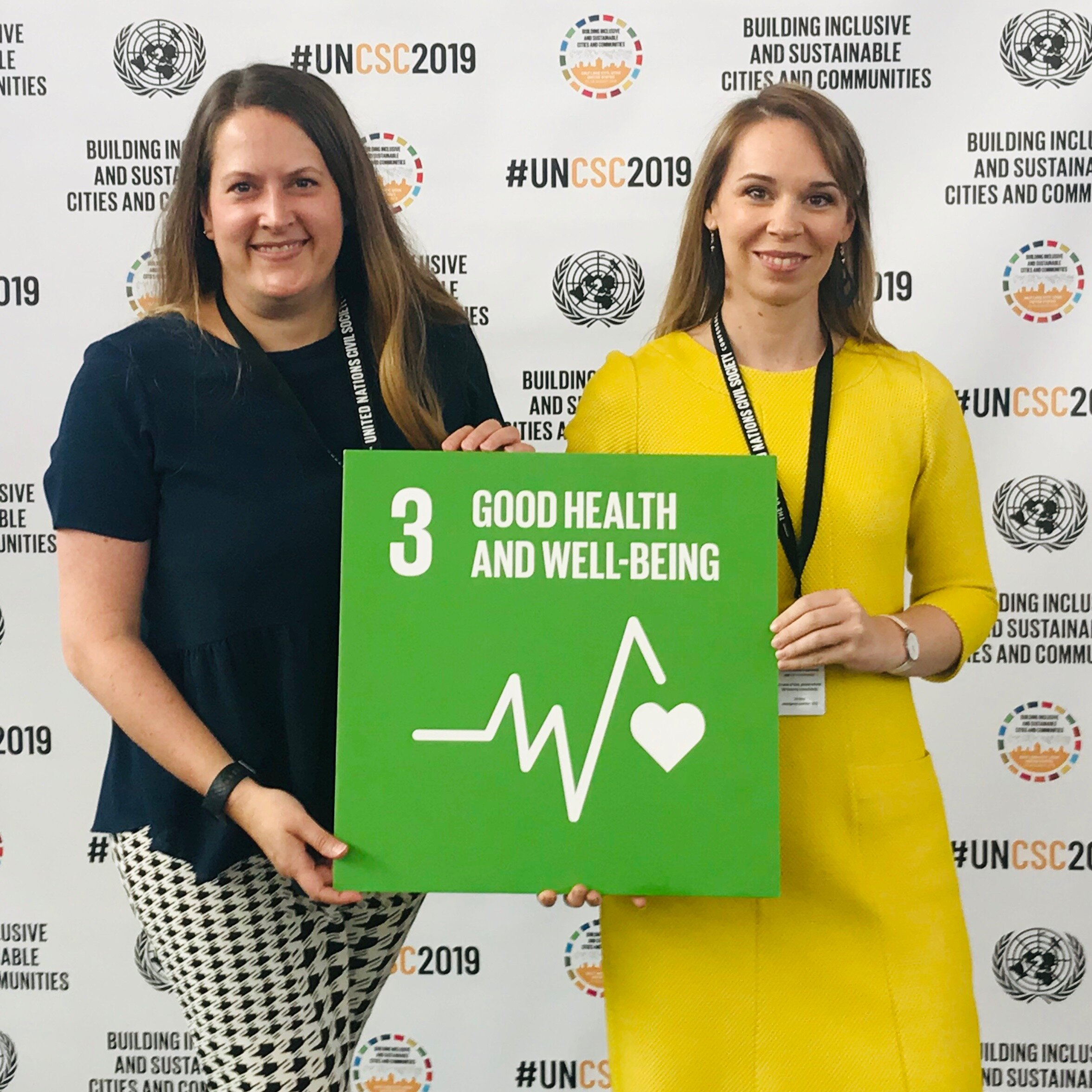 Shelley Henson and Corrine Ellsworth Beaumont at the UN Conference.