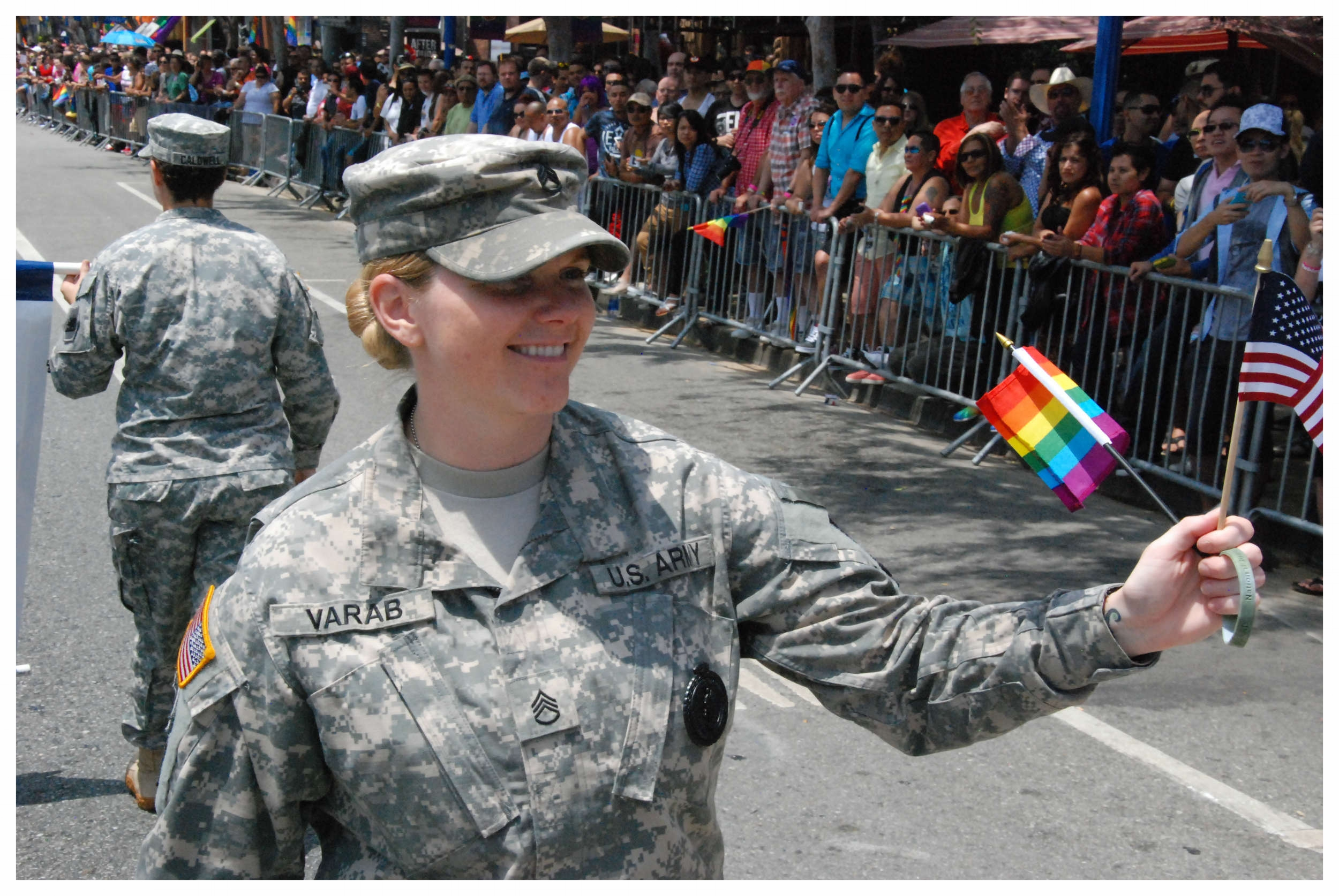 California Proud -- Soldier marching in the L.A. Pride Parade. The California Military Department boldly led, and continues to lead the way toward accepting all who want to serve.
