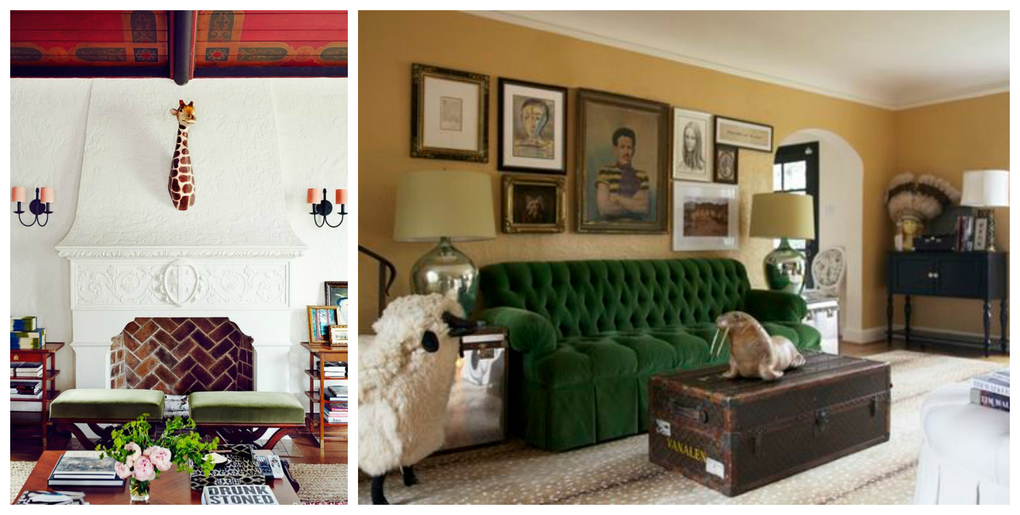Right: A sheep, a walrus, a vintage trunk, and antelope print carpet? Honestly, it doesn't get any better.