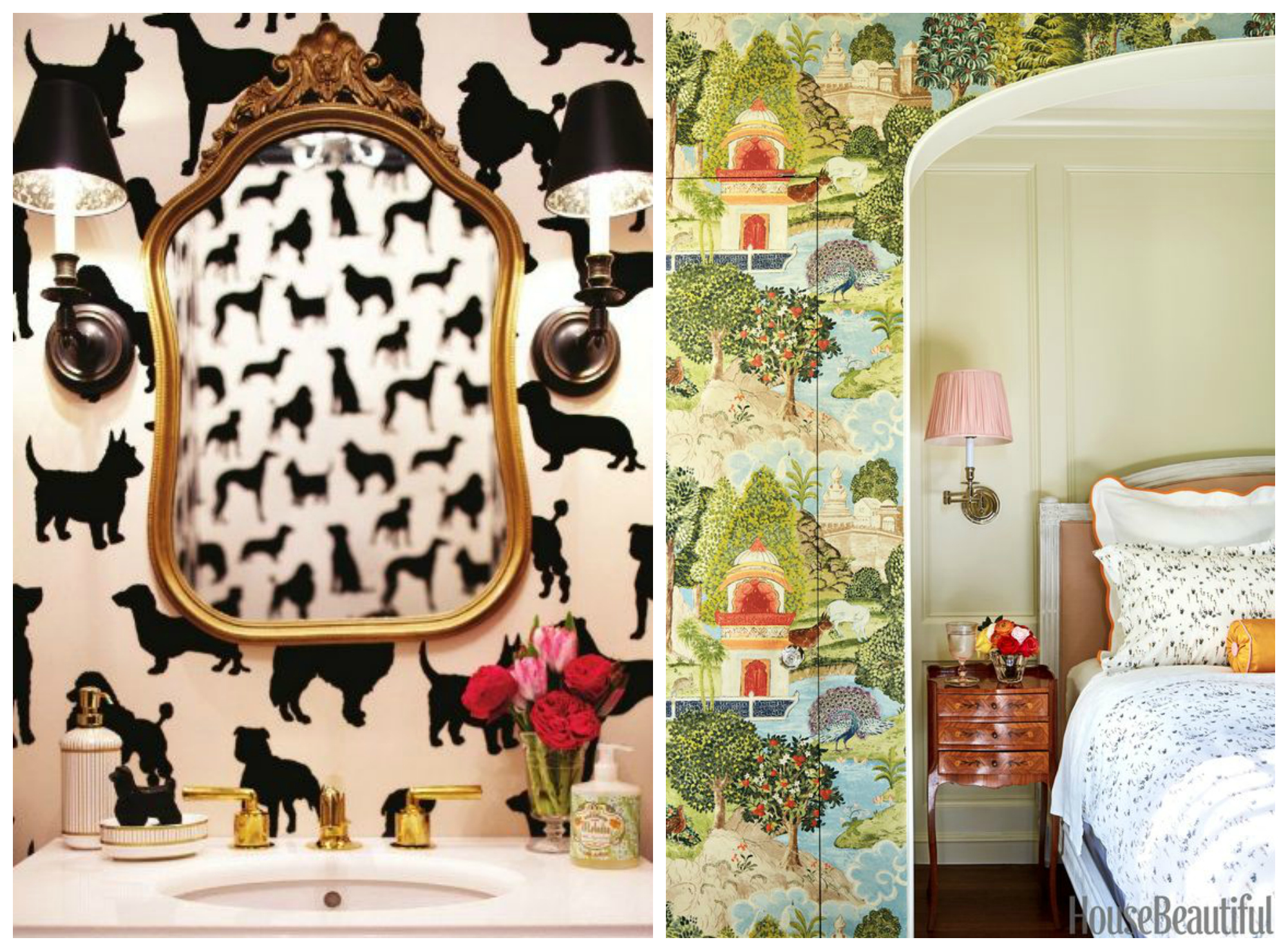 Left: Everyone needs a powder room with dog wallpaper, in my opinion.