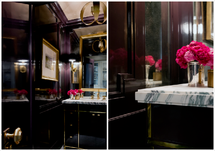 I'm not kidding people, I could move into this powder bathroom. One time I just stood in there for like 10 minutes, soaking up the lacquered eggplant walls and drooling over the brass details. Think I could squeeze my suitcase in there...?