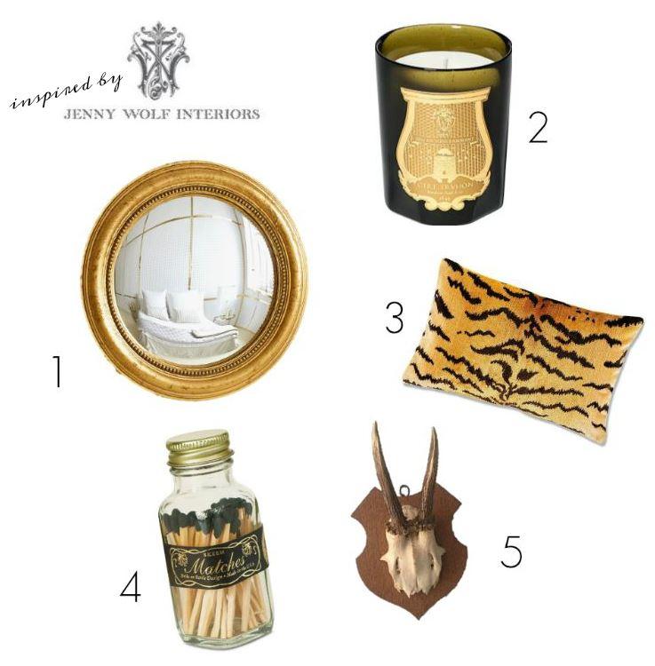 1.  Gold Convex Mirror  $89.90/ 2.  Cire Trudon Candle  $55 / 3.    S  calamandre Le Tigre Pillow Cove  r $249 / 4.  Mini Vintage Match Bottle  $10 / 5.  Vintage Mounted Horns  $52