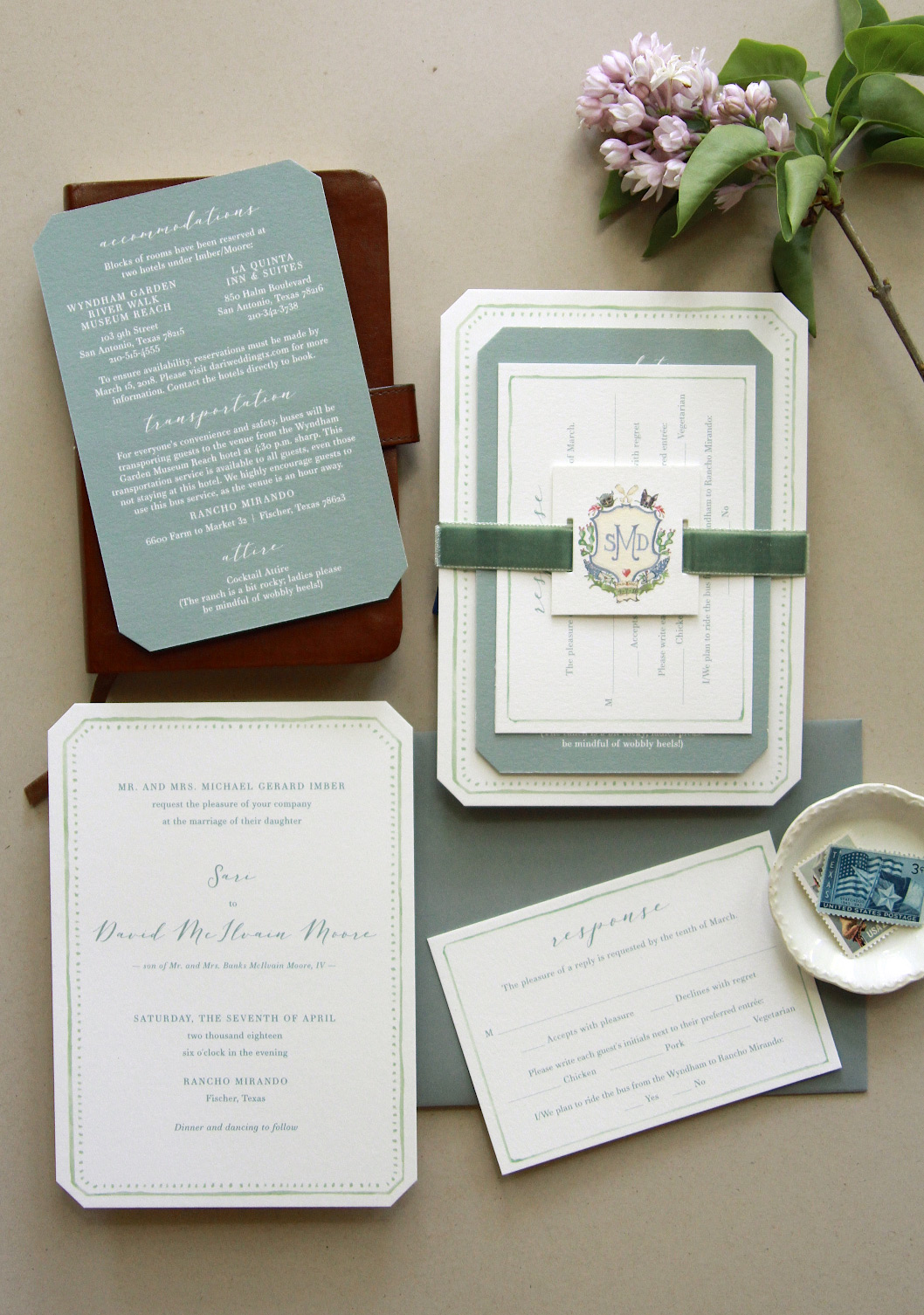 Invitation suite and photo by Michael Musser of  Anticipate Invitations.  Michael's dotted watercolor border perfectly encapsulated the romantic, whimsical feeling I was looking for, and the chamfered edges were the perfect finishing touch.