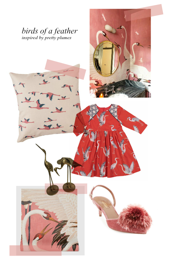 From the top: Design by    Alice Lane Home    /    Ikea Pillow $6    /    Darling Dress for Girls $84    /    Pair of Brass Birds $32    /    Aquazzura Pumps $318 (Marked down from $795!)    /    Gucci Wallpaper $1,000,000 (Not really, but probably)