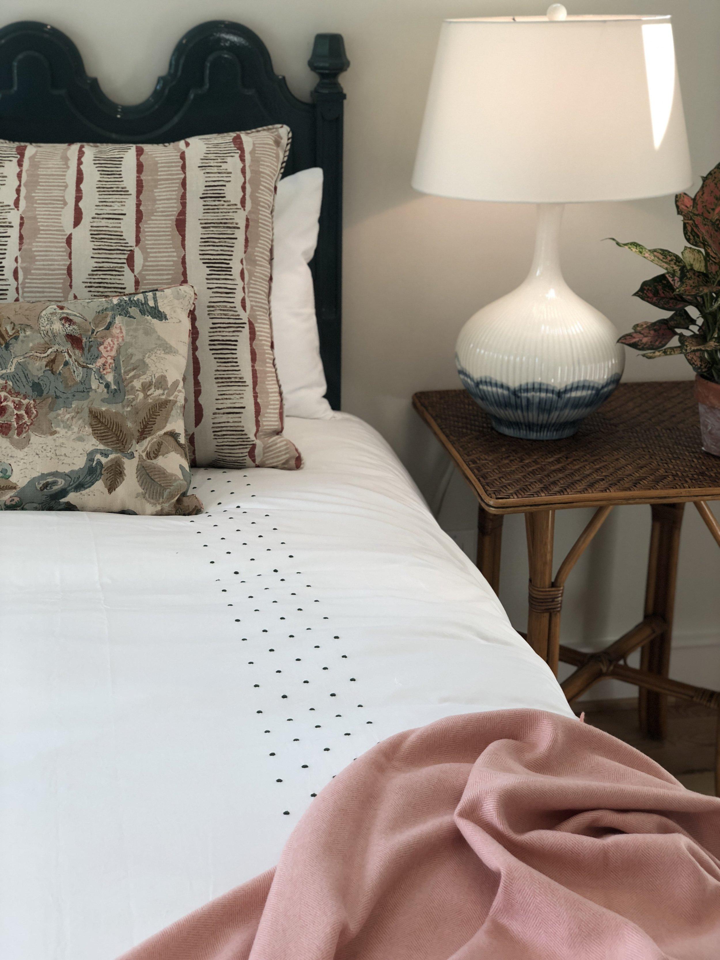 Biscuit bedding in Meg's guest bedroom.