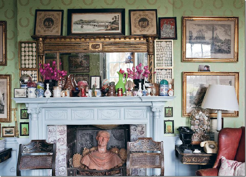 """19"""" century intaglios hidden amidst a deliciously cluttered mantle at    Hanham Court    , the historic house owned by famed garden designing couple — Julian and Isabel Bannerman."""