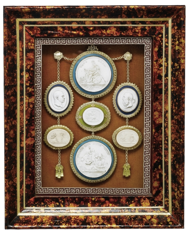 Ornately framed intaglios from the 19th century sold on    Sotheby's   .
