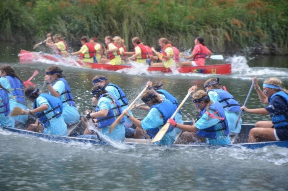 The two tribes, Kiowas and Tonkawas, battle it out during War Canoe