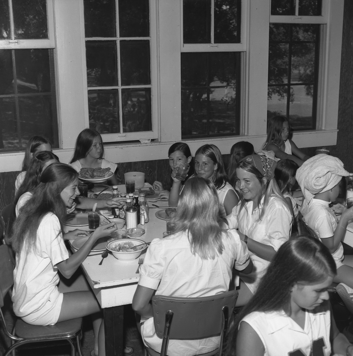 Campers in the dining hall in 1972