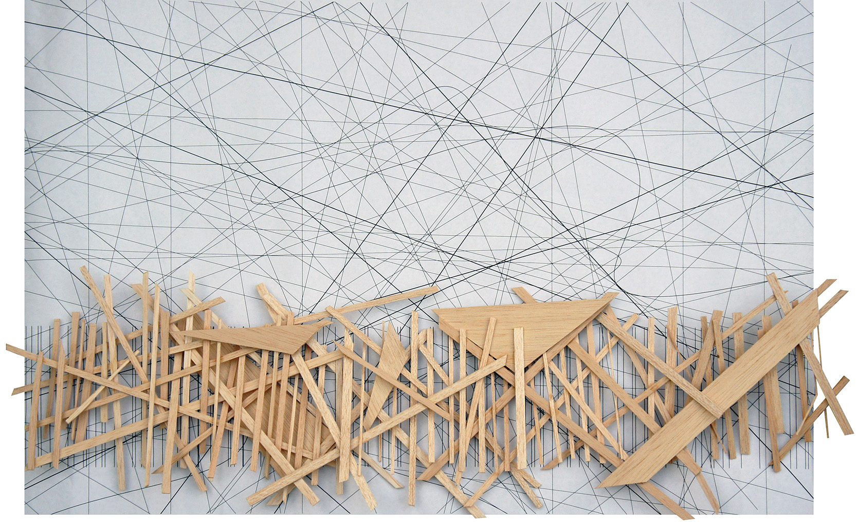 """FLAT MODEL / 34"""" x 8""""  Balsa wood model emphasizing the lines and space created in the drawing."""