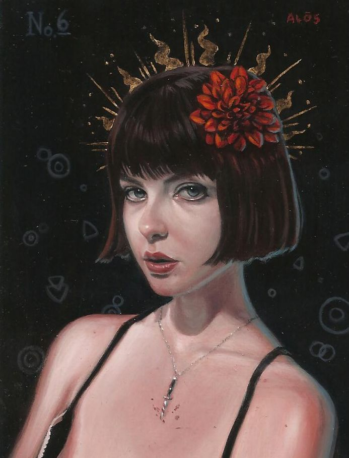 "Girl with dahlia 3x4"" acrylic and metal leaf on wood 2012"