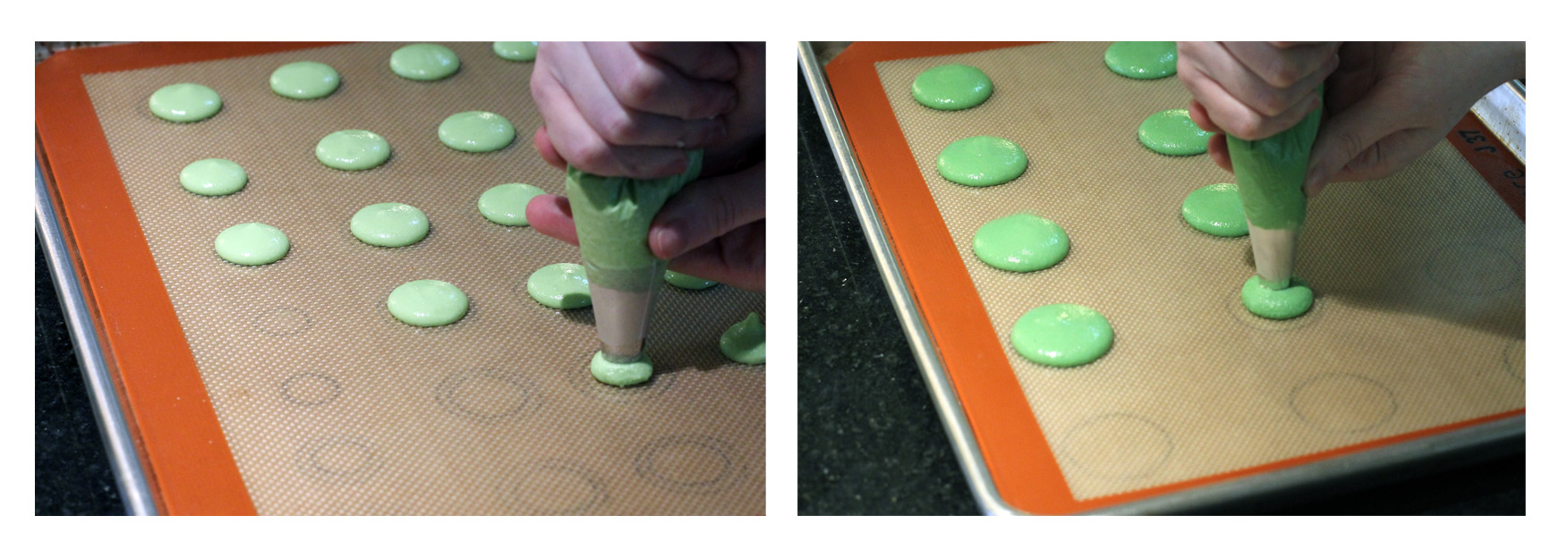 Step 1: Pipe french macarons in two different colors and three different sizes.