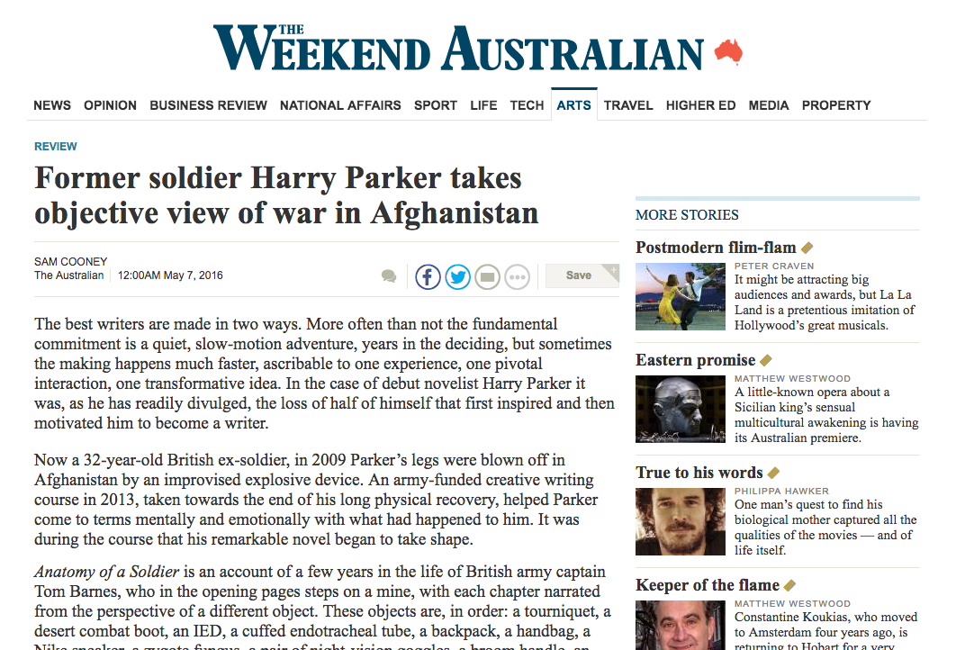 book review in the  Australian – Harry Parker's  Anatomy of a Soldier