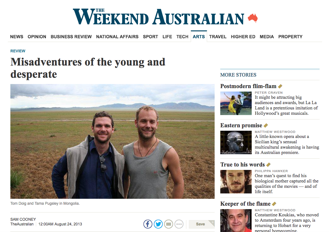 book review in the  Australian – Tom Doig's  Mörön To Mörön and Laura Elizabeth Woollett's  Mr Snack and The Lady Water