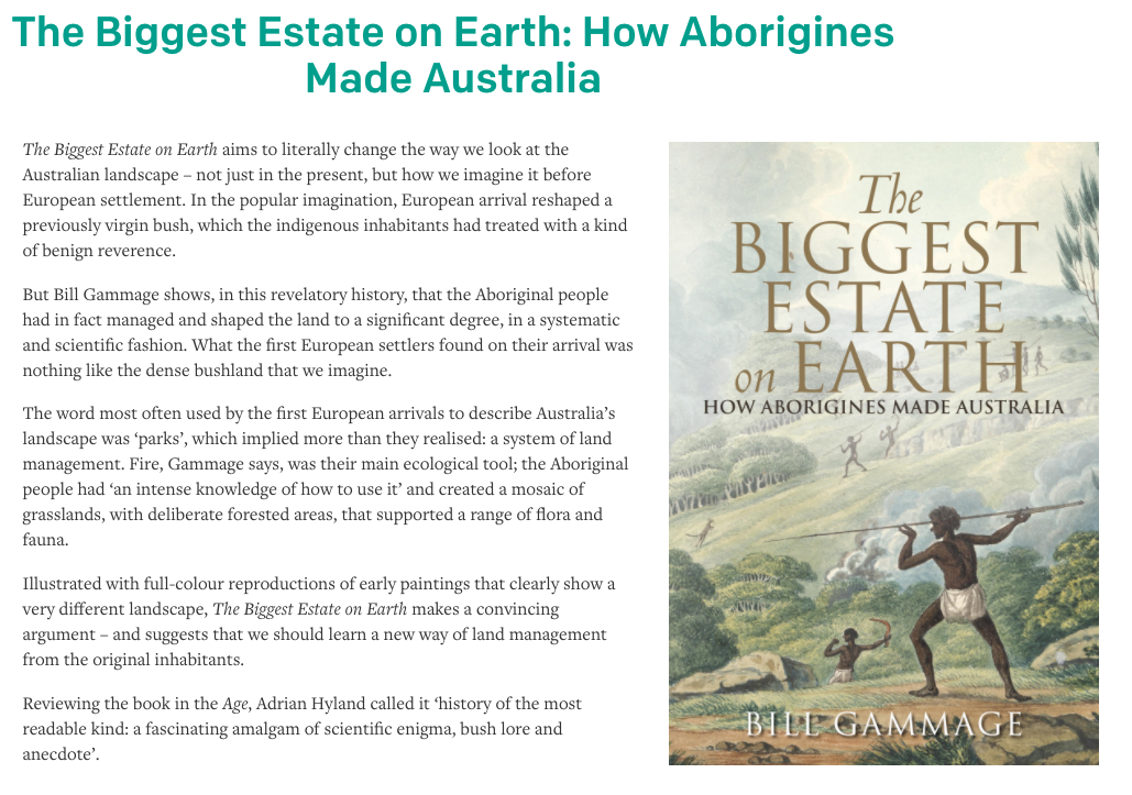 book review on The Wheeler Centre website – Bill Gammage's  The Biggest Estate on Earth