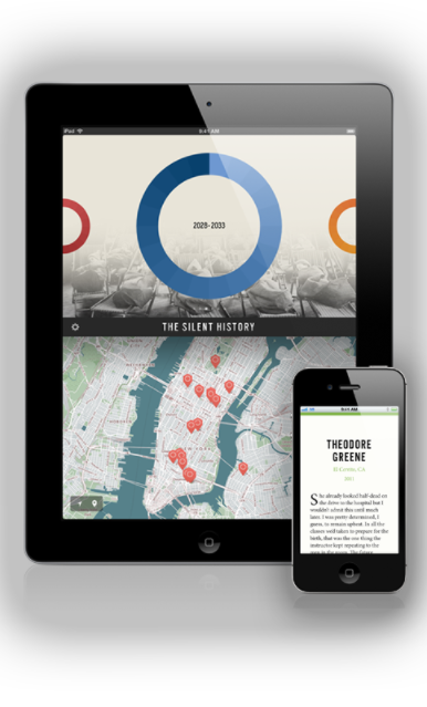 I contributed pieces of fiction for the groundbreaking 'Silent History' mobile storytelling geofiction project, which combined serialisation, exploration,and collaboration.