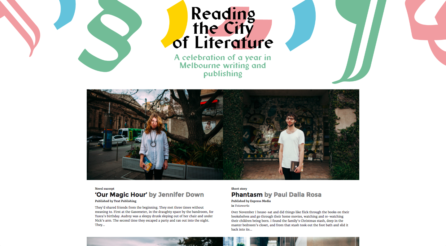 I put together the 'Reading the City of Literature' site (with designer Connor Tomas O'Brien) for the UNESCO Melbourne City of Literature Office. (Note: password is 'melbourne')