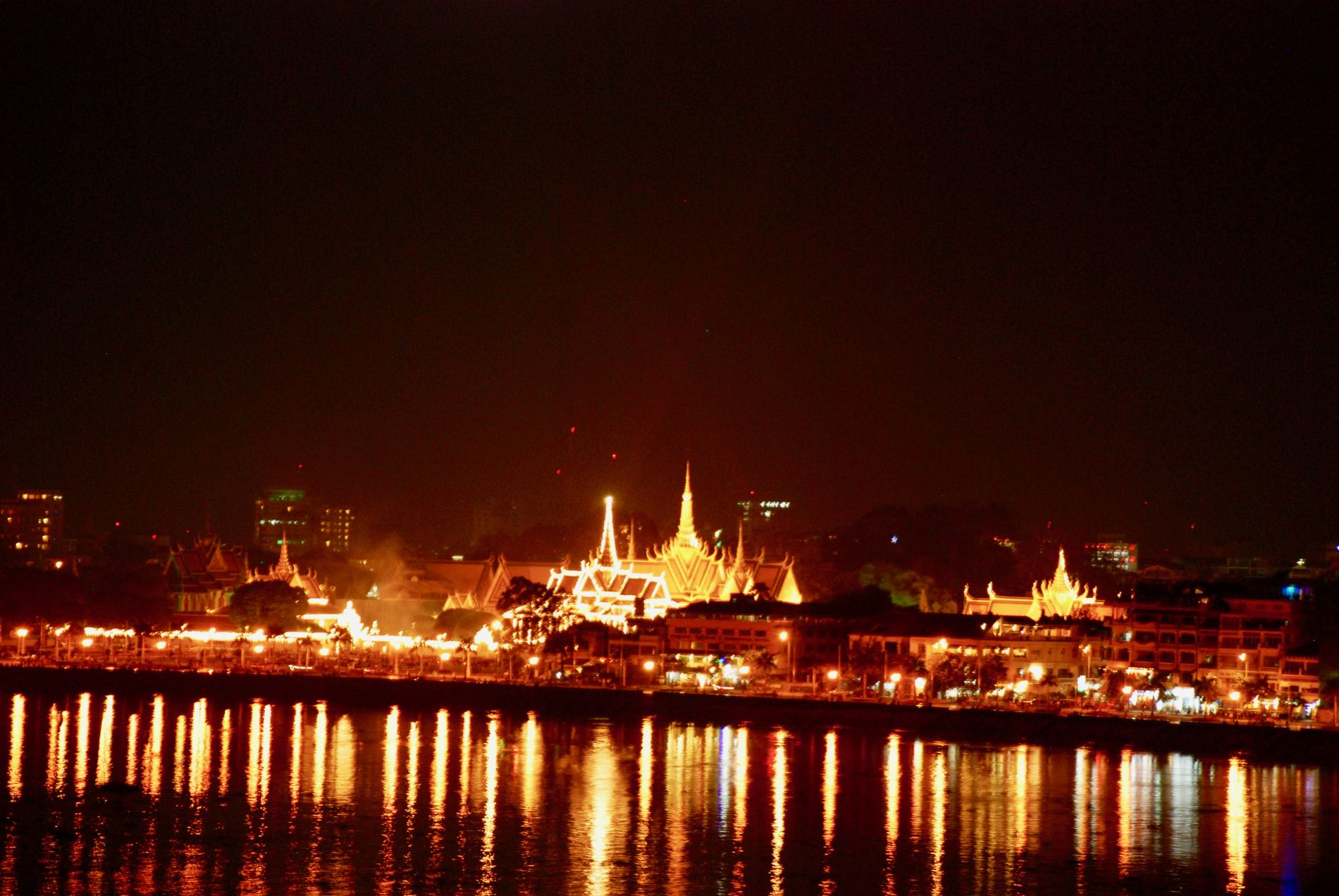 Cambodia's Royal Palace in Phnom Penh lit up for water festival