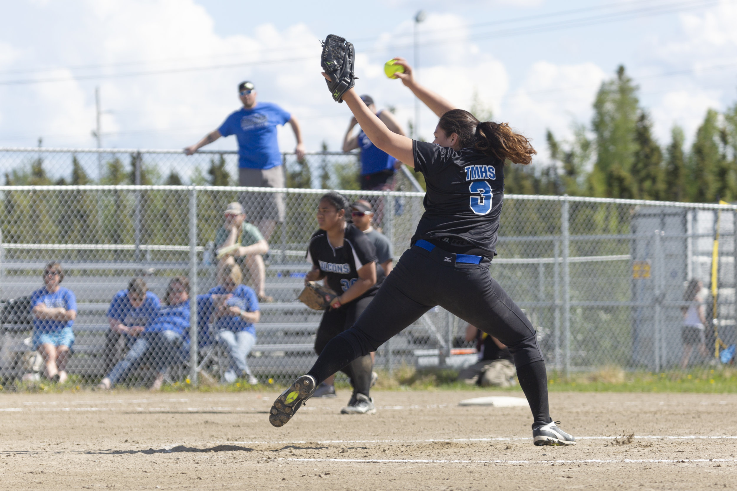 #3 Penina Fenumiai pitches for Thunder Mountain against Ketchikan in the first Championship Game on Saturday, June 2nd in Fairbanks, AK. Sarah Manriquez/Juneau Empire