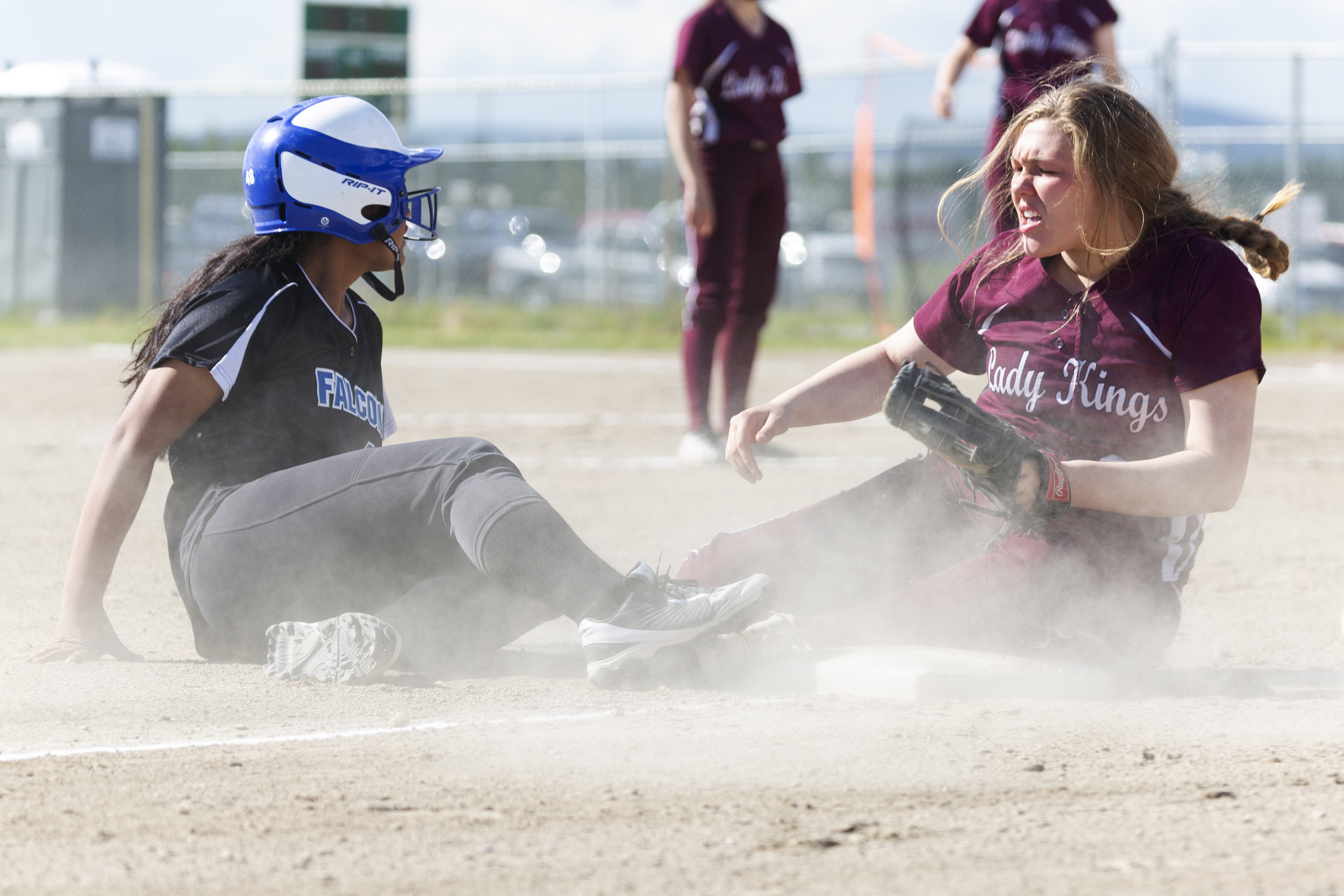 #14 Mariah Tanuvasa Tuvaifale looks to the umpire for his call after sliding safely onto third base in the Thunder Mountain vs Ketchikan champion game in the ASAA Division II state softball tournament in Fairbanks on Saturday, June 2nd. Sarah Manriquez/Juneau Empire