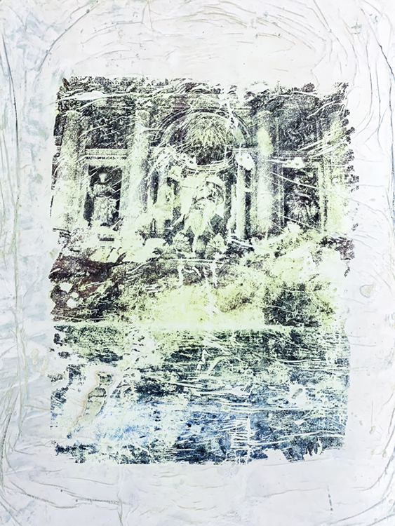 """""""Fontana Di Trevi"""" Xylene Transfer on Plaster, 2019  The Trevi Fountain is a fountain in the Trevi district in Rome,  Italy  was designed by Italian architect Nicola Salvi and completed by Giuseppe Pannini. It is the largest Baroque fountain in the city and one of the most famous fountains in the world.  Coins are thrown using the right hand over the left shoulder. The myth, which originates from the 1954 movie """"Three Coins in the Fountain,"""" says: If you throw one coin: you will return to Rome. If you throw two coins: you will fall in love with an attractive Italian. If you throw three coins: you will marry the person that you met.  An estimated 3,000 euros are thrown into the fountain each day! The money has been used to subsidize a supermarket for Rome's needy."""
