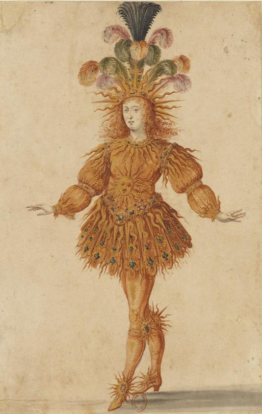 """Image tirée des  Costumes du Ballet intitulé : """"La Nuit,"""" représenté à la Cour en 1653, dans lequel Louis XIV figura habillé en soleil  (BnF)"""