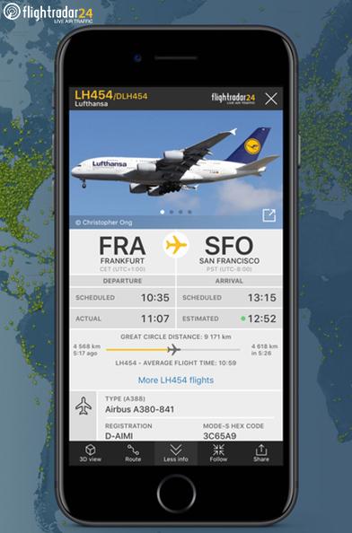Obtenha dados detalhados dos voos e aviões. Olha o  Airbus A380  aí♡