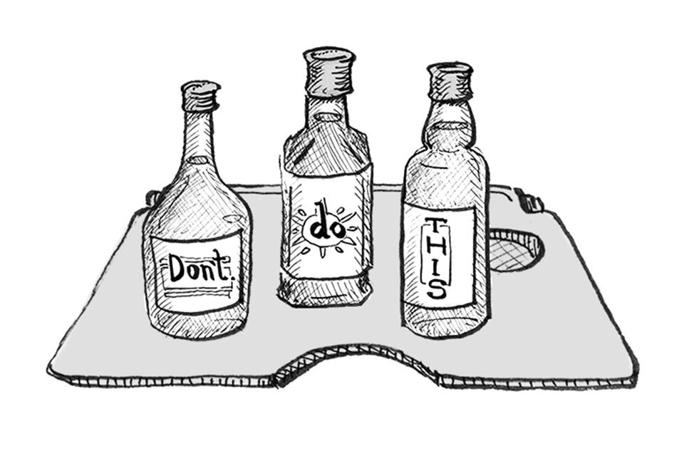 Melhor não misturar álcool com certos remédios durante o voo, hein, pessoal? As garrafinhas são do ilustrador Juca Oliveira: visitar o  instagram  dele pode!
