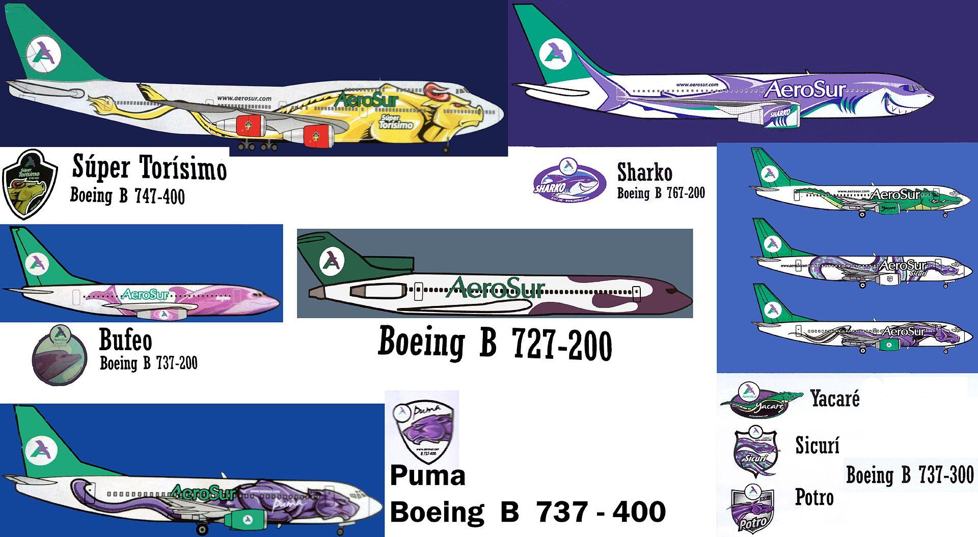 Toda a frota da extinta Aerosur. Que fauna rica! Clique para ampliar (Foto:De Mateo33 - Trabajo propio, CC BY-SA 3.0)