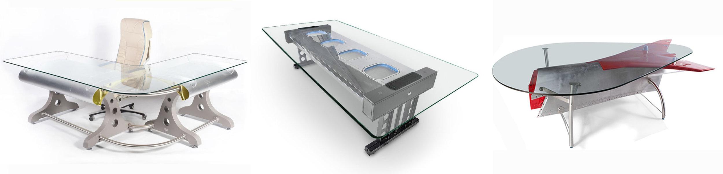 """Da esquerda pra direita: mesa de canto feita com flaps originais de asas de uma aeronave;mesa para reuniões com parte da fuselagem de avião (com janelas!); essa peça do avião ficava na pontinha da asa e se chama """"sharklet"""" — mas agora seu nome é """"mesa"""" mesmo (Foto:  Skyart )"""