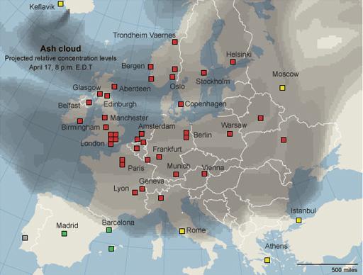 Projeção da nuvem de fumaça provocada pela erupção do Eyjafjallajökull (relativo ao dia 17/04/2010). Em vermelho: cidades com todos os voos cancelados; em amarelo: apenas alguns voos operando; em verde: apenas voos vindos ou indo para as regiões afetadas foram cancelados