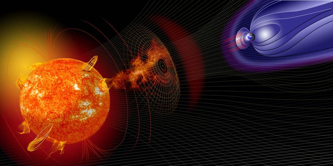 Quem diria que até o sol iria apertar a mente dos panicados? As tempestades solares podem interferir no campo magnético da Terra e, consequentemente, no bom funcionamento de aviões (Foto: Nasa)