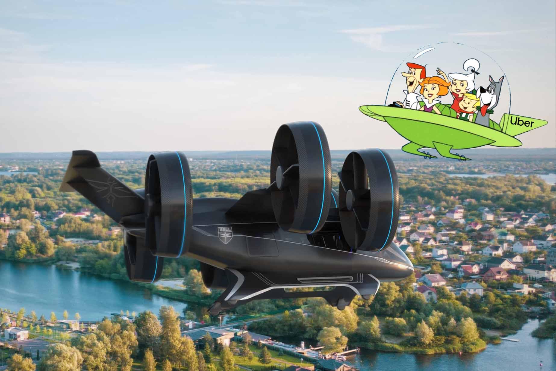 """Nexus, modelo da Bell para a iniciativa do Uber para mobilidade urbana por via aérea: o futuro no estilo do desenho """"Os Jetsons""""está próximo?"""
