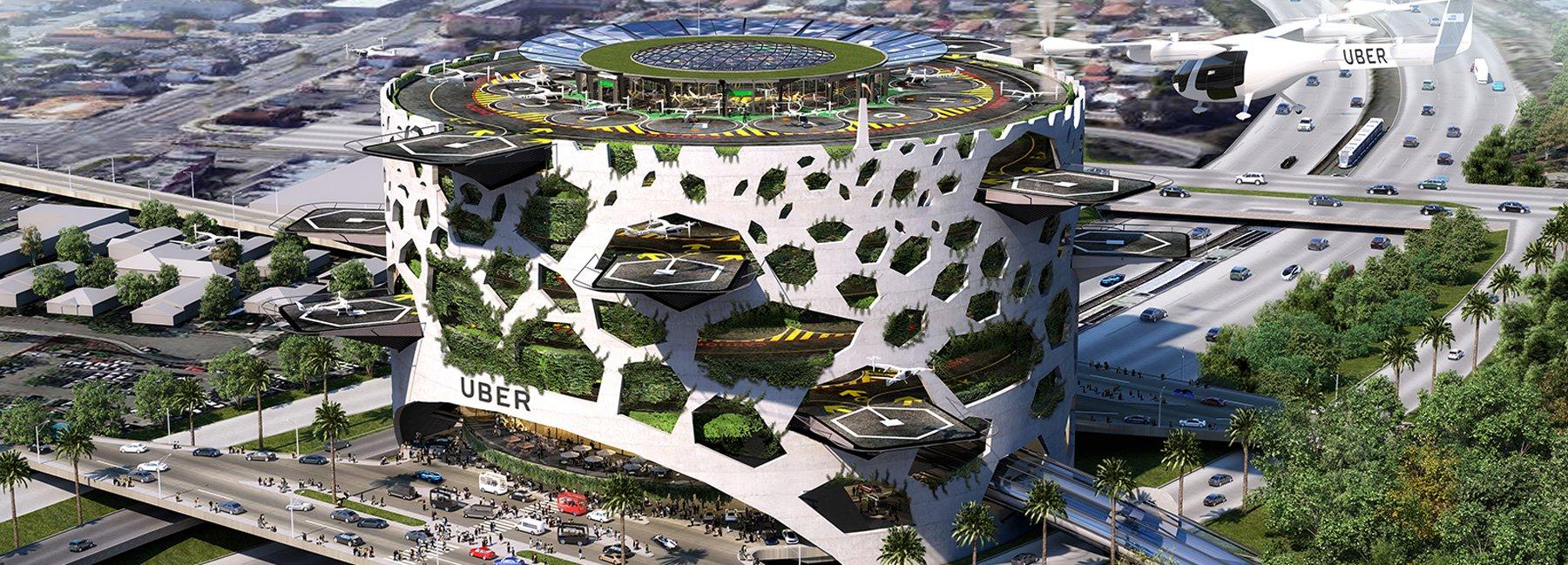 Uber pediu a escritórios de arquitetura que pensassem estruturas (skyports) para um fluxo de mais de 4 mil passageiros por hora. Na foto, proposta do escritório americano  Humphreys & Partners