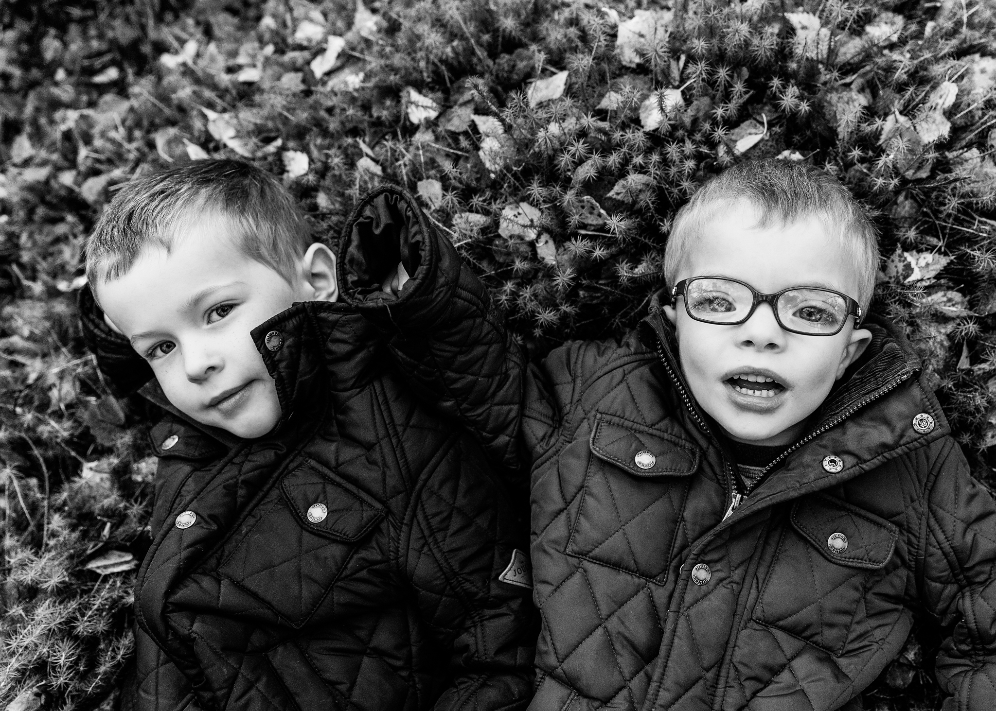 Banchory Family Photographer boys in forrest