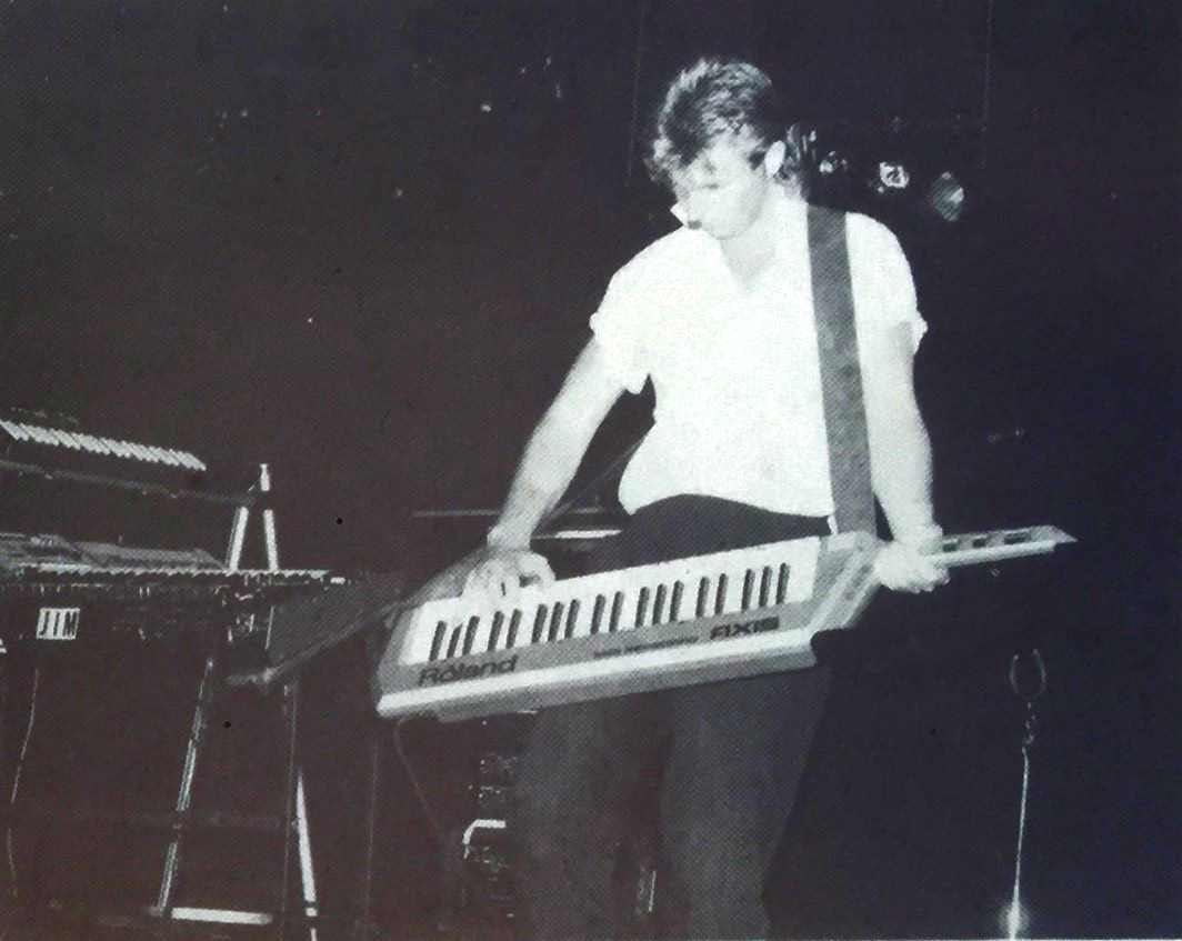 """A rare picture of me, with keytar, on stage at a Gold Coast nightclub - before I """"got a real job"""" !"""