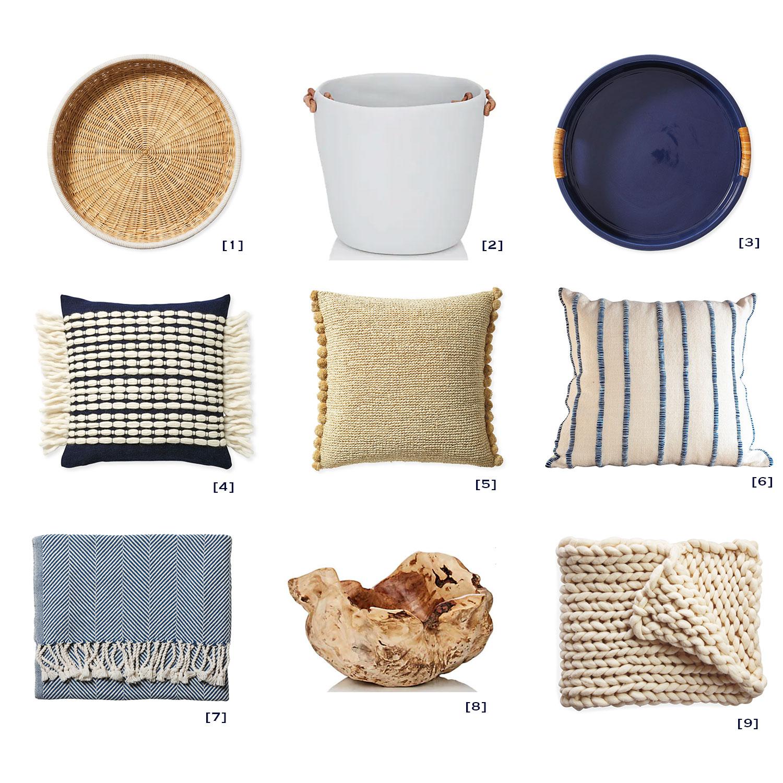 [1]  Tray.  [2]  Ice/Champagne Bucket.  [3]  Tray.  [4]  Pillow.  [5]  Pillow.  [6]  Pillow.  [7]  Throw.  [8]  Bowl.  [9]  Throw.