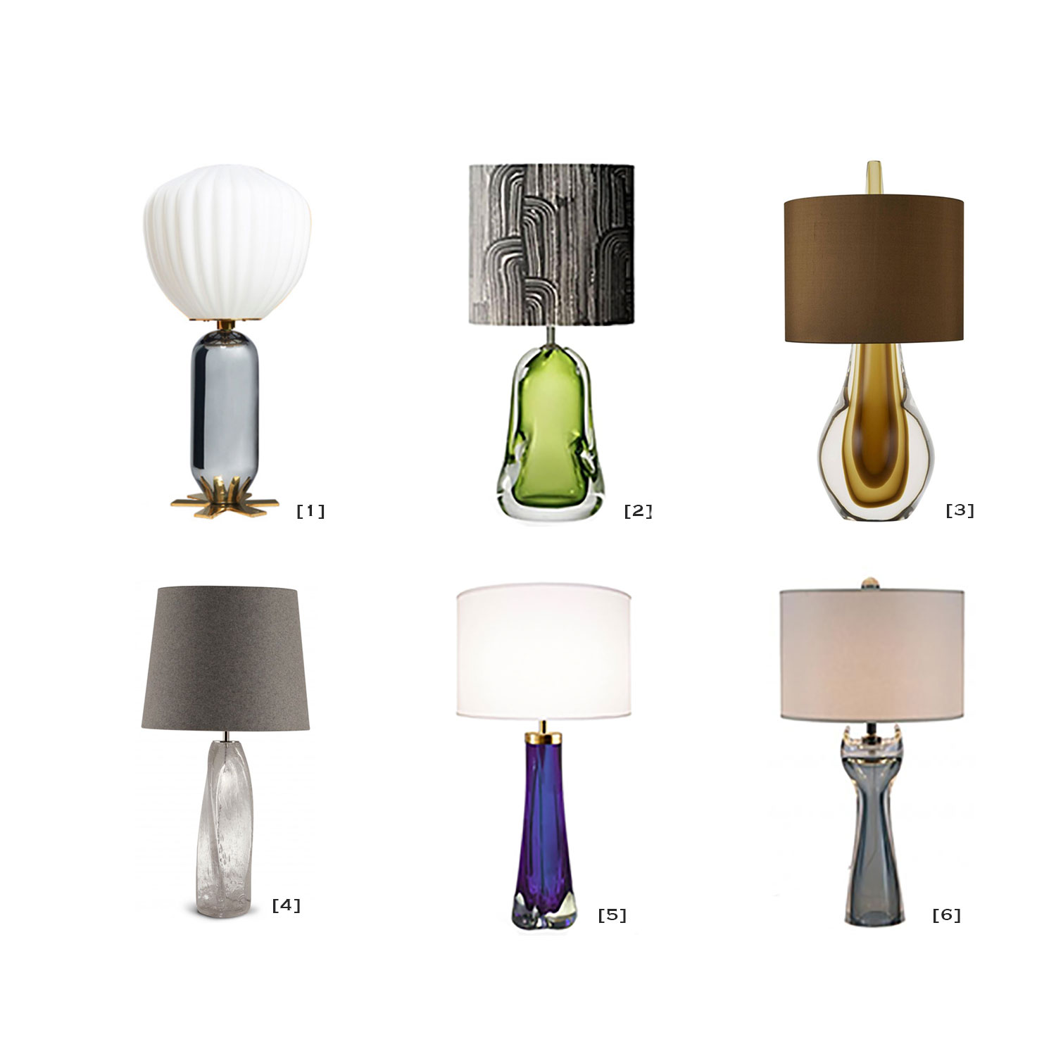 [1]  India Mahdavi lamp . [2]  Green glass lamp . [3]  Cameron Peters lamp . [4]  Porta Romana lamp . [5]  Craig Ven Den Brulle lamp . [6]  Van den Akker Studio lamp .