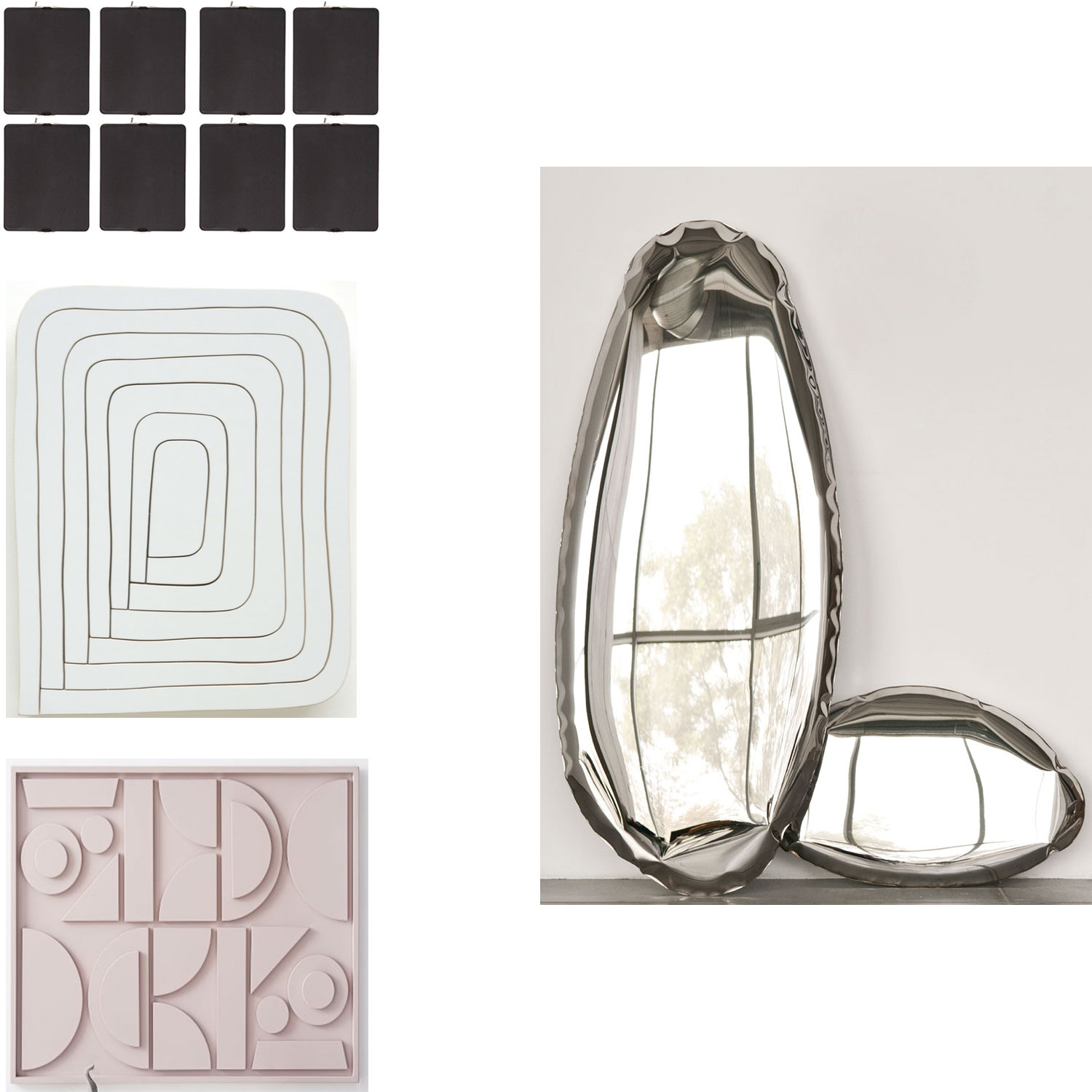 Clockwise from top:  Lights ,  Mirror Wall Sculpture ,  Pictograph,   Automotive Paint on Wood