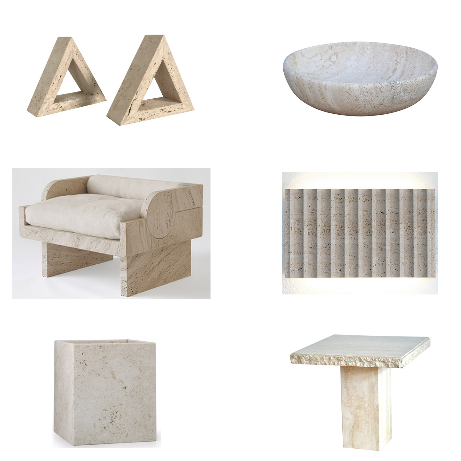 Clockwise from top left:  triangle bookends ,  mid-century modern bowl ,  Stephane Parmentier armchair ,  Roma wall light ,   waste basket ,  1970's side table .