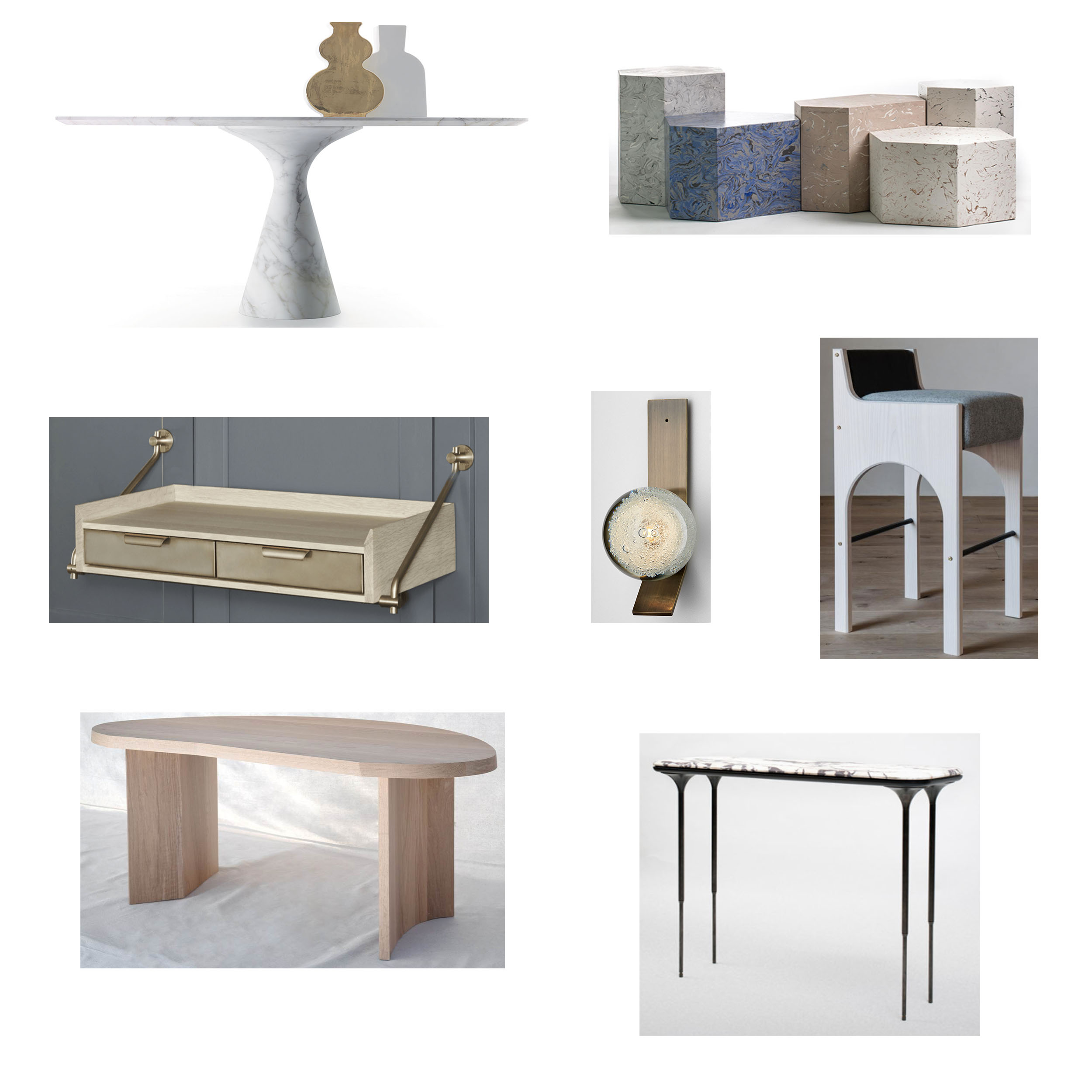 Row 1:  Torre Maxi table,   Playtime Series groupings . Row 2:  Knife Edge Console,   Fizi Wall Sconce,   Arc Stool . Row 3:  Chene Desk ,  NYX Console.