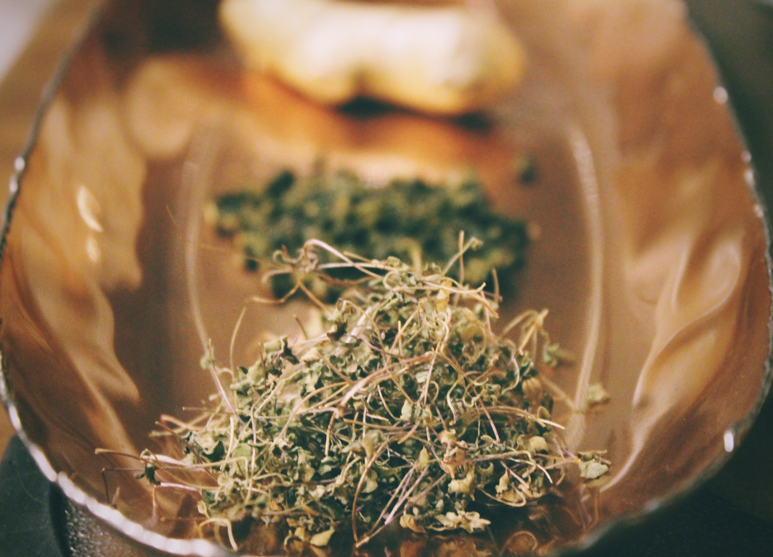 Harvest dried basil microgreens and shred with hands or chop in a food processor. Set aside.