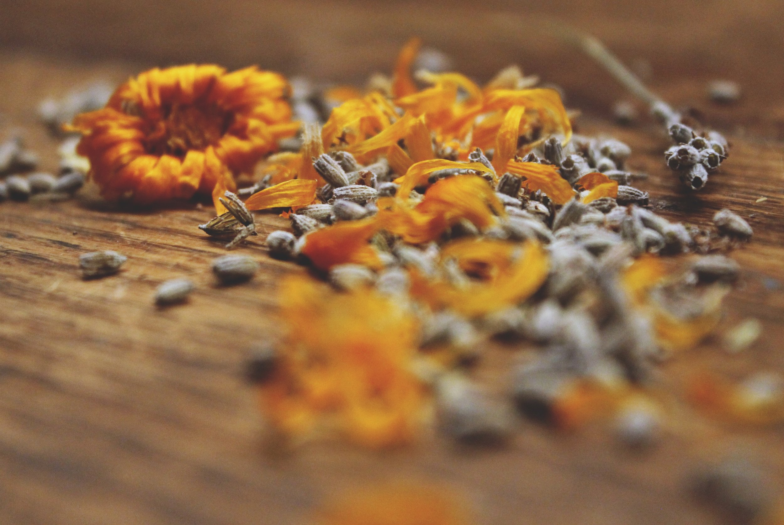 Shred remaining calendula and lavender
