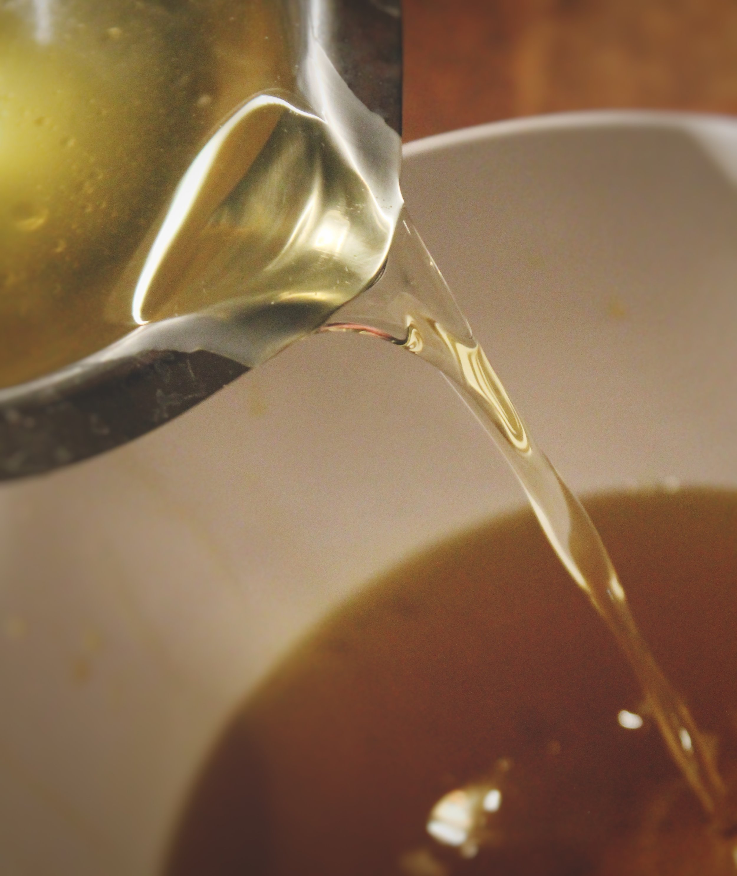 Combine melted beeswax with infused oil